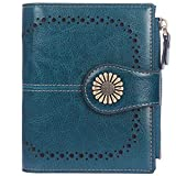 Lavemi Womens Leather Wallet RFID Blocking Small Bifold Compact Credit Card Case Purse for Women with ID Window Zipper Pocket(Peacock Green)