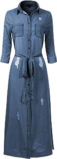 Design by Olivia Women's Basic Classic Long/Roll Up Sleeve Button Down Chambray Denim Shirt Tunic (S-3XL) - Blue - Medium
