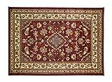 ERugs - Alfombra persa tradicional (160 x 230 cm), diseño floral clásico, color rojo