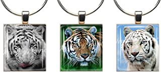 WHITE & SIBERIAN TIGERS ~ Scrabble Tile Wine Glass Charms ~ Set of 3 ~ Stemware Charms/Markers/Pendants