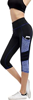 Imido Women's Yoga Capri Pants Sport Tights Workout Running Leggings With Side Pocket