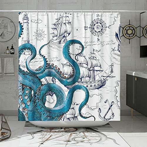 DESIHOM Cooler Octopus Duschvorhang Anime nautischer Duschvorhang Blaugrün Kraken Duschvorhang Segelboot Pirat Duschvorhang Polyester wasserdicht 183 x 183 cm