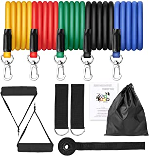 IOSUA 11 Pcs Resistance Bands Set, Exercise Bands with 5 Stackable, Training Tubes with Door Anchor & Ankle Straps for Res...