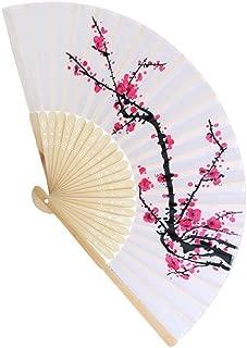 FASHIONCRAFT Delicate Cherry Blossom Design Silk Folding Fan Favors, 1