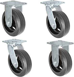 4 Pack Dumpster Plate Casters w/Black Mold-On Rubber on Steel 6