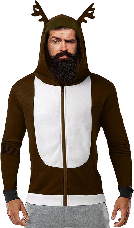 Aayomet Christmas Hoodies Antlers Full Zipper Men's Fashion Hoodies & Sweatshirts Cardigan Jacket Unisex Hoodies Tops