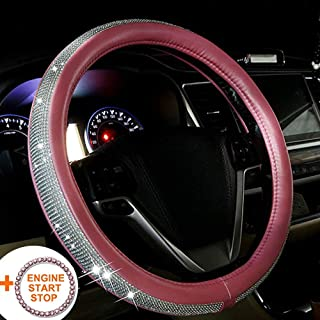 BabYoung Bling Steering Wheel Cover 15 inch for Women, PU Leather with Bling Bling Rhinestones (Pink)