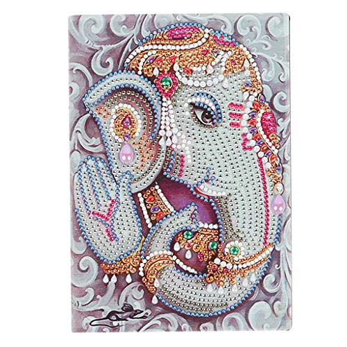 DIY Diamond Painting Cuadernos Blanco A5 Elefante Crystal Art Kit DIY Multi-Forma Diamante Pintura A5 Cuaderno A5 Cuaderno de Diario Libro de Notas Libro de Cumpleaños Niña Regalo 50 hojas 120 páginas