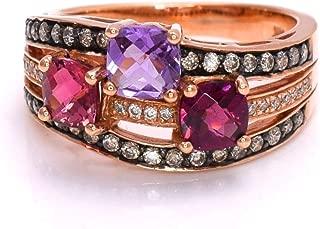 LeVian Pink Tourmaline, Rhodolite Garnet Amethyst Chocolate Diamonds 2.02 cttw Ring 14k Rose Gold