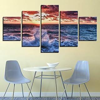 adgkitb canvas Vista al mar Simple HD Marco Modular Decoración Arte de la Pared Cinco Piezas Nueva Gama Alta Fresh Family Children