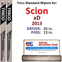 Wiper Blades for 2013 Scion xD Driver & Passenger Trico Steel Wipers Set of 2 Bundled with Bonus MicroFiber Interior Car Cloth