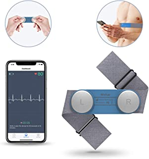 Heart Health Tracker, Wearable Chest Strap ECG/EKG Recorder 30s-15min Built-in Memory W Free App PDF Report Wireless Heart Rate Monitor for Fitness Wellness Use