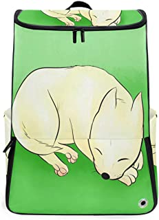 Travel Backpack Cartoon Little White Dog Sleeping School Backpack for Men Big Backpacking Bag