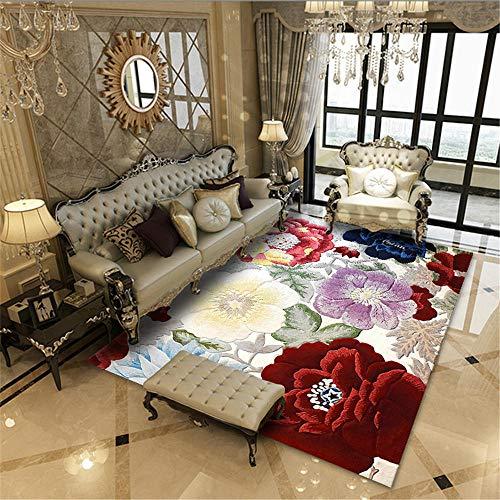 Jiaosa Auslegware Teppichboden rot Salon-Teppich mit rotem Muster mit großen Blumen, schmutzabweisend und gegen Milben Kinderteppich 180X280CM Teppich Weich 5ft 10.9''X9ft 2.2''