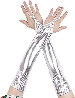Freebily Glänzend Fingerlose Handschuhe Metallic/Fischschuppen gedruckt Armstulpen Gogo Dessous Kostüm Zubehör Nachtclub Dancewear Clubwear