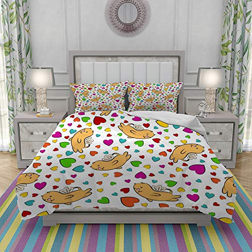 JOLIEAN Duvet Cover Set-Bedding,Hearts And Winged Cats Valentines Day Background,Quilt Cover Bedlinen-Microfibre 220x240cm with 2 Pillowcase 50x80cm