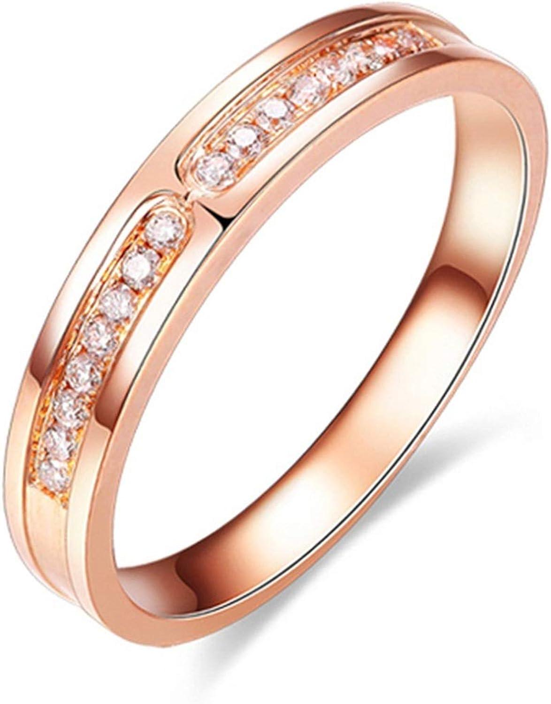 Washington Mall Epinki Couple 18K Rose Gold Ring Round New item High 0.08C Polished White