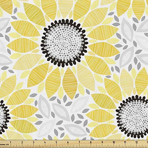 마당에 의해 AMBESONNE 노란색 패브릭 모티프와 패턴과 태양 꽃의 다채로운 그림 여름 자연 묘사 장식 원단 실내 장식 및 홈 액센트 1 야드 노란색 회색