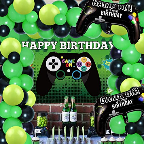 Sursurprise Video Game Balloons Garland Arch kit Black and Green, 77 Packs Balloons and Gaming Backdrop Photo for Kids Boys
