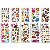 Habett Tatuaggi per Bambini, 230+ Tatuaggi Adesivi Impermeabili per Regali Gratificanti Scrapbooking Inclusi Unicorno, Animali, Pesci, Dinosauri, Numeri, Lettera, Frutta e Altro (20 Fogli)