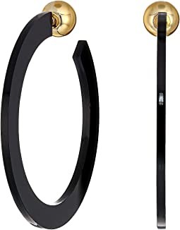 "2.5"" Black Resin Hoop with Gold Ball End Post Earrings"