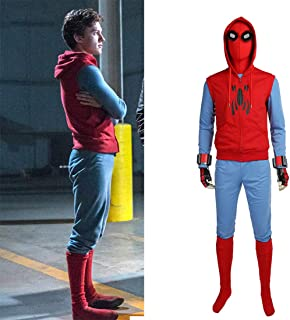 Spiderman Homecoming Cosplay Costume Tom Holland Costume Halloween Spiderman Costume for Men Full Set with Mask Custom Made,M