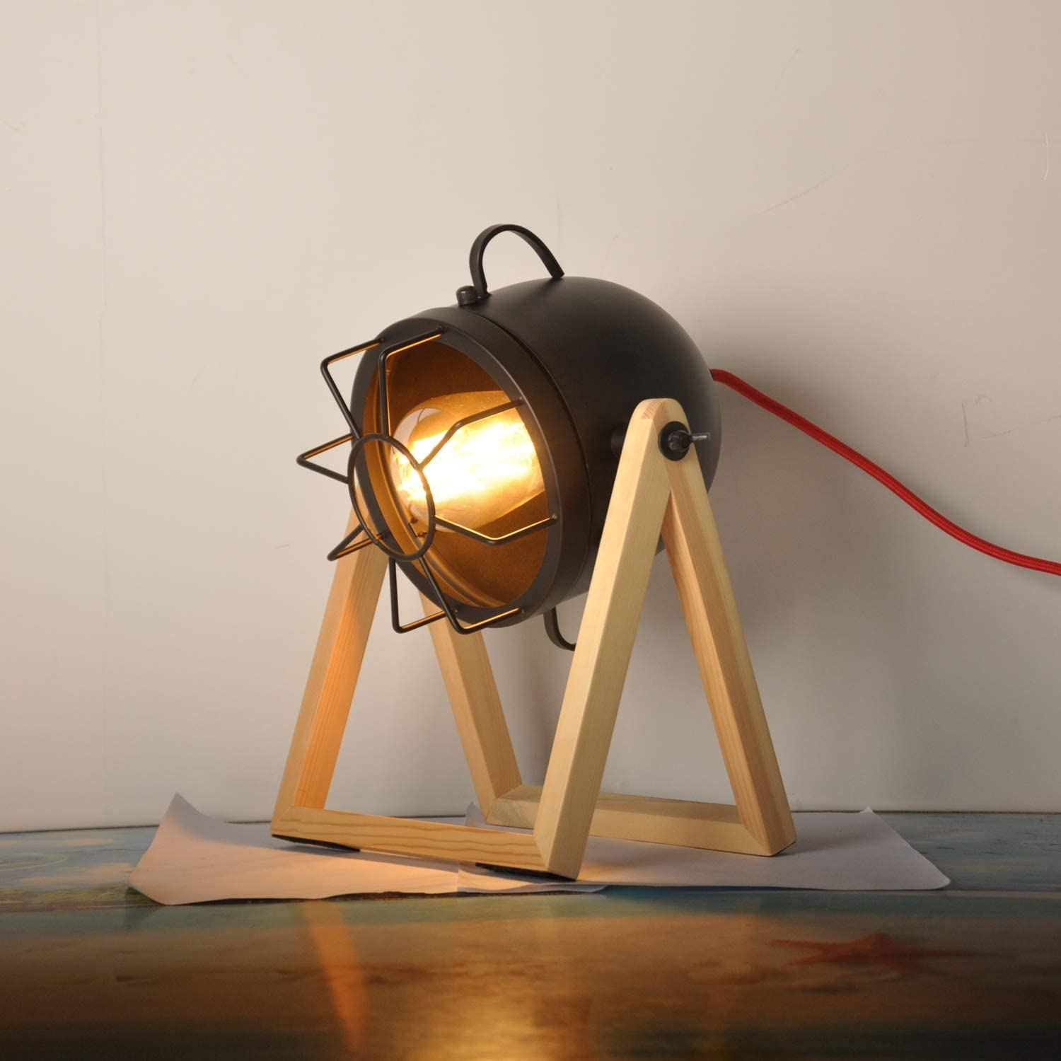 Vintage Table Lamp Old Wood Retro Desk Ru Our shop Popular brand OFFers the best service Light Searchlight for