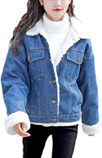 Women's Vintage Lapel Sherpa Fleece Lined Loose Fit Thicken Denim Jacket