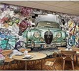Papel pintado impermeable Retro coche antiguo pintado a mano Graffiti pegatina de pared restaurante Pared Pintado Papel tapiz 3D Decoración dormitorio Fotomural sala sofá pared mural-430cm×300cm