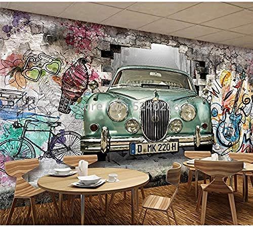 Papel pintado impermeable Retro coche antiguo pintado a mano