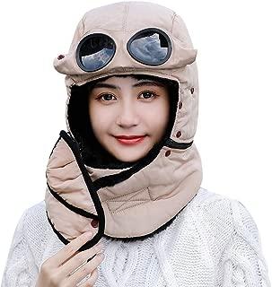 Unisex Warm Waterproof Trapper Hat Ear Flap Thermal Neck Warmer Women Men Winter Hat with Goggles
