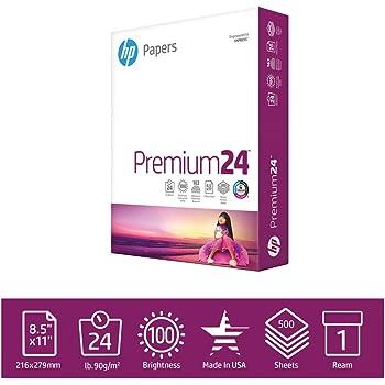 HP Printer Paper 8.5x11 Premium 24 lb 1 Ream 500 Sheets 100 Bright Made in USA FSC Certified Copy Paper HP Compatible 115300R