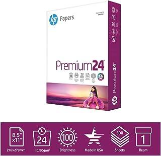 HP Paper  Printer Paper 8.5x11 Premium 24 lb 1 Ream 500 Sheets 100 Bright Made in USA FSC Certified Copy Paper  Compatible 115300R, White (112400R)