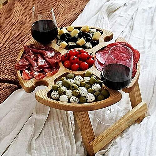 ATIN Mesa de picnic plegable de madera para exteriores, con soporte de cristal, 2 en 1, pequeña mesa de vino para picnic, para playa, hogar, jardín, camping