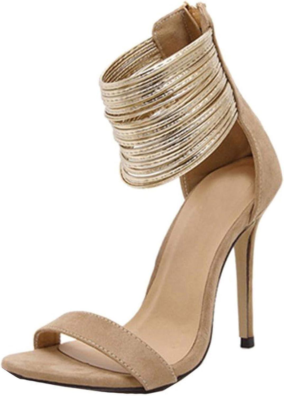 Yeenvan Sexy High Sandals 2018 Women Sandals Summer Party Wedding shoes Designer Zipper Thin Heels Sandals Women shoes 6M,Brown,8.5,United ates