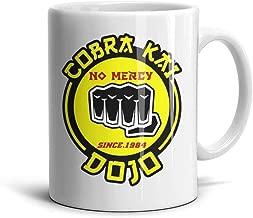 SHTHYTS White Ceramic Cobra-Kai-Dojo-No-Mercy-Snake-fist-Logo-Coffee Mugs Tea Mug Teacup 11oz 330ml Cup Personalized Souvenir Polished Glossy Gift for Home Office