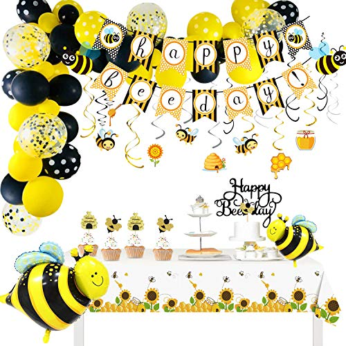 HIPEEWO Bee Party Decorations - Bumblebee Bee Decorations Supplies, Happy Bee Day Banner, Bee Balloons, Bee Toppers, Table Clothes, Bee Swirls, for Honey Birthday Party, Baby Shower, 1st Birthday Bee Themed Party