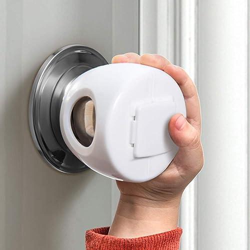 Door Knob Safety Cover for Kids, Child Proof Door Knob Covers, Baby Safety Doorknob Handle Cover Lockable Design. (4 ...