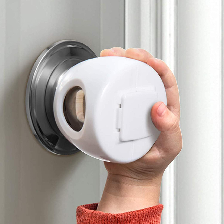 Door Knob Safety Cover for Kids, Child Proof Door Knob Covers, Baby Safety Door knob Handle Cover Lockable Design (4 Pack).