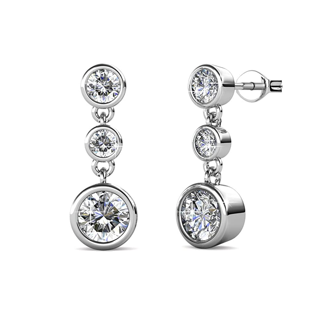 Cate & Chloe Bailey Wonder White Gold Dangle Earrings, 18k White Gold Plated Studs with 3 Dangling Swarovski Crystals, Silver Stud Earring Set, 3 Round Cut Crystal Stones