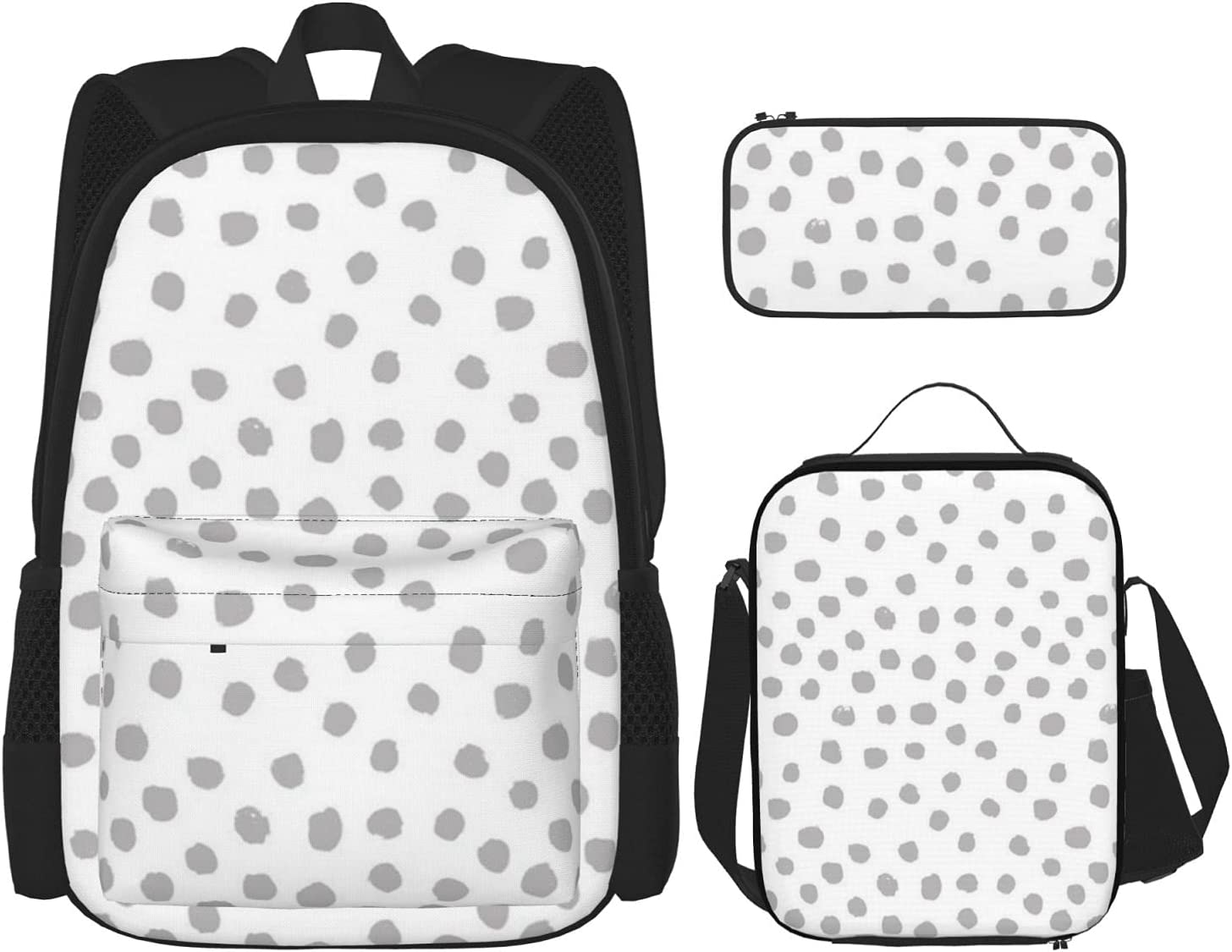 In a popularity Dots Grey Minimal Black White Lunch Box Manufacturer regenerated product Insulated Backpack with