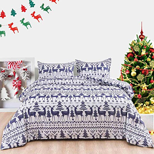 NANKO Christmas Queen Duvet Cover 3pc, New Year Holidays Blue Striped 90x90 Tree Elk Deer Pattern Microfiber Comforter Cover with Zipper Closure, Ties - Modern Style for Men Women Teen Boho