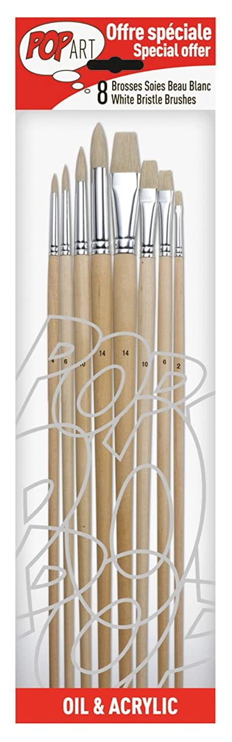PEBEO 4 Round and 4 Flat Bristle Brushes, 8-Pack, White