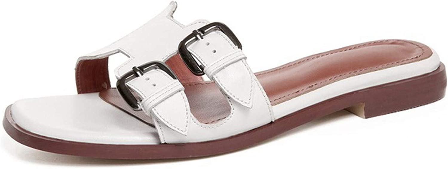 SANDIP MIKEY Casual Cow Leather Flat Outsole shoes Women Buckle Strap Open Toe Footwear Summer Date Women Sandals Slipper