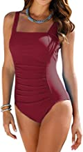 Upopby Vintage Women's Tummy Control Monokini One Piece Swimsuit Retro Bathing Suit