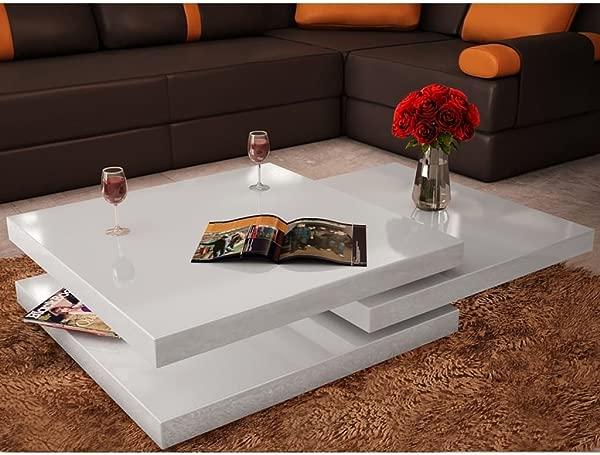 Festnight 3 层茶几可扩展高光沙发边桌带滑梯和可折叠层客厅家用办公家具白色