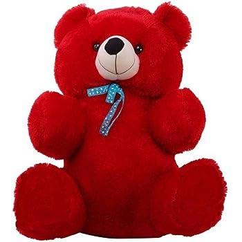 HUG 'n' FEEL SOFT TOYS Long Soft Lovable hugable Cute Giant Life Size Teddy Bear (2 Feet, Red)