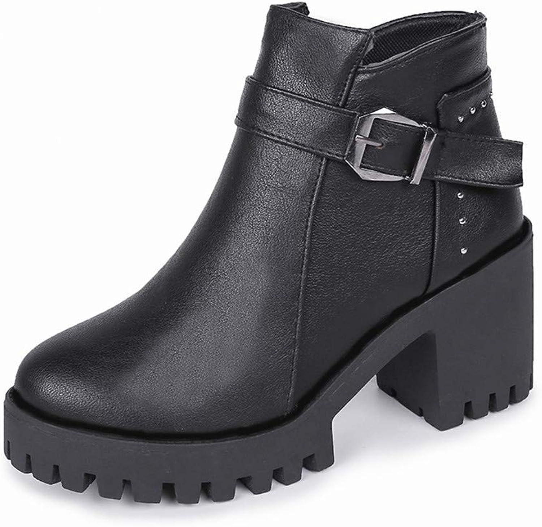 Qiusa High High High Heels Martin Stiefel Plus Baumwollstiefel Martin Stiefel weiblicher runder, Dicker Absatz, schwarz, 37 (Farbe   -, Größe   -)  f0e4ec