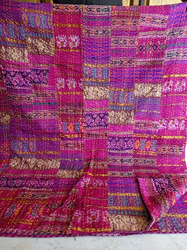 Exclusive Patola Silk Patch Work Kantha Quilt , Kantha Blanket Bedspread, Patch Kantha Throw, King Kantha, Kantha Rallies Indian Sari Quilt, Size 88' X 106' Inches Bohemian Blanket , Kantha Quilt
