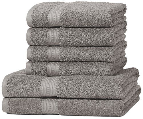 AmazonBasics Handtuch-Set, ausbleichsicher, 2 Badetücher und 4 Handtücher, Grau, 100% Baumwolle 500g/m²